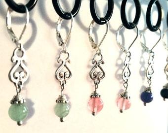 Natural Stone Earrings / Earrings / Vintage Earrings / Bead Earrings / Silver Earrings