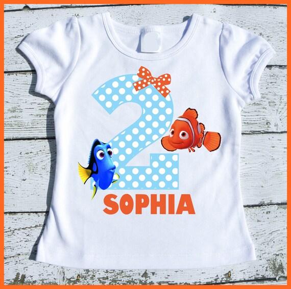 Custom Personalized Dory and Nemo Birthday tee shirt