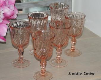 Lot of 6 arcoroc rosaline, arcoroc wine glasses rosaline, wine glasses, wine glasses vintage.