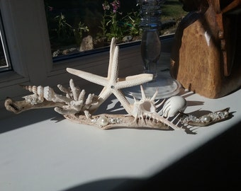 Seashell Starfish Driftwood Wedding Centerpiece/Coastal Ornament with Pearls and Crystals.Bridal Shower Beach Party