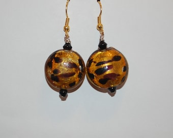 Orange Cheetah Print Earrings