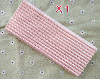 Light Pink Chevron Design Paper Drinking Straws