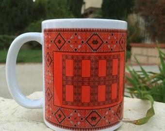 Palestinian Red Embroidery Mug