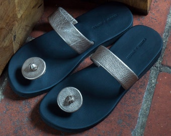 Leather button Indian sandals
