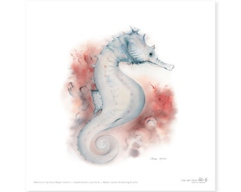 Seahorse fine art print, watercolor, 8,3 x 8,3 inch, limited edition, painted by Klaus Meyer-Gasters