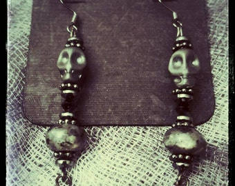 Day Of The Dead Gothic Metal Hematite Skull, beads, and Black Rose Earrings Dia De Los Muertos