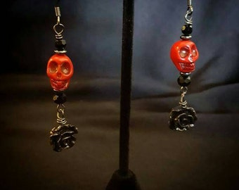 Day of the Dead~ Red Skulls with Black Rose and Hematite Dangle Drop Earrings
