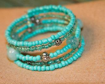 Teal Memory Wire Bracelet, Boho Bracelet, Beaded Bracelet, Cuff Bracelet, Wrap Around Bracelet, Bohemian Memory Wire Bracelet