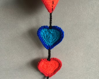 Crochet hearts vertical hanging string