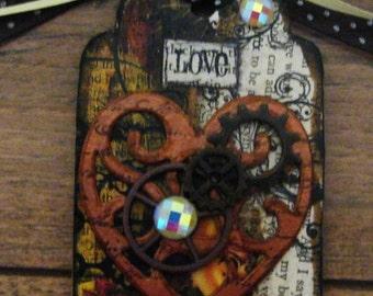 Mixed Media Heart, Key, Gears Tag