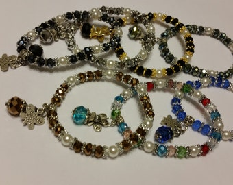 Beaded Bracelet with Butterfly Charm (A45)