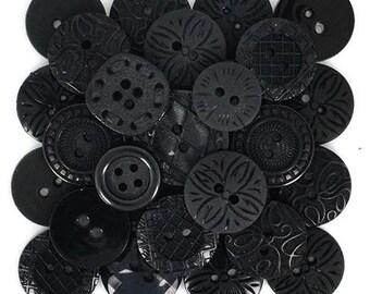 Assortment of 18 decorative buttons color black - button black - 1177265