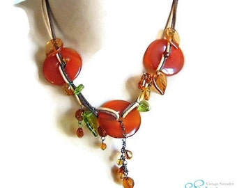 Sale! Super nice separate carnelian and leather necklace