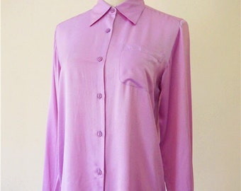 SALE Unused vintage purple pink silk shirt/blouse, pure silk/100% silk