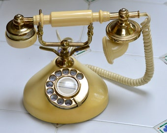 Vintage French Style Rotary Telephone in Gold & Ivory in Working Condition