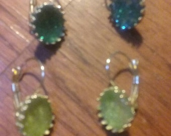 glitter leverback earrings.