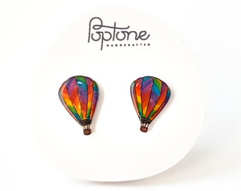Hot Air Balloon Earrings, rainbow balloon earrings, air balloon earrings, rainbow pride earrings