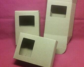 Soap Boxes - Kraft/square cut out - 12 each