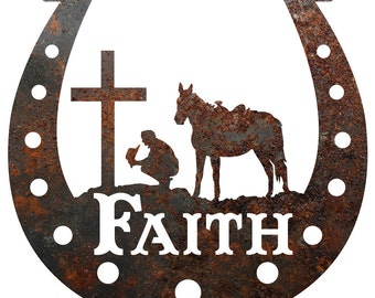 Rustic Home Decor Horseshoe Faith Metal Sign