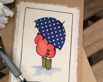 Hand painted, embroidered greetings card