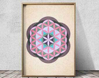 Sacred Geometry Art Mandala Art Mandala Wall Art Sacred Geometry Print Mandala Art Flower of Life Print
