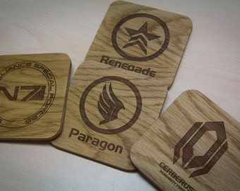 Mass Effect Inspired Drinks Coasters - Set of Four