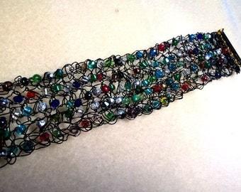 Crocheted Black Wire Bracelet
