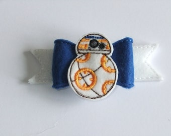 BB8 Inspired Felt Embroidered Handmade Hairbow