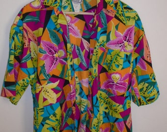 Vintage Box Office Size Small Multi Color Floral Design Button Down Top S/S