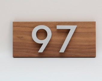 Custom house numbers / address made from hardwood and aluminium