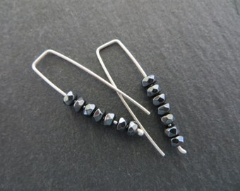 Minimalist silver earrings with hematite beads