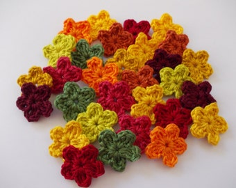 30 mini floral in 10 fall colors - crochet