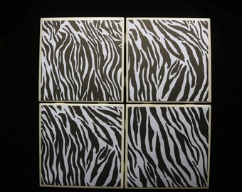 Coaster Set - Table Coasters - Zebra Print Coasters - Coaster - Tile Coaster - Coasters for Drinks - Coasters Tile - Black and White Coaster