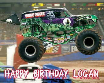 MONSTER TRUCK Grave Digger 1/4 Edible Frosting Icing Sheet Cake Topper Customized Personalized Birthday Party Custom Decoration