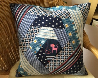 Cushion pillow cover blue patchwork cushion gift for you