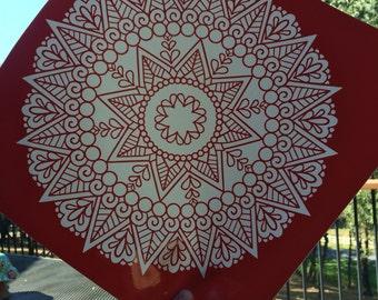 Mandala Red Vinyl Decal