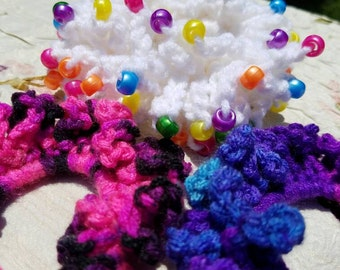 Crochet Scrunchie Set 3pc, Crochet Ponytail Holders, Girl's Hair Accessories, Beaded Scrunchie, Ouchless Ponytail Holders, Handcrafted