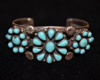 Vintage Turquoise Navajo Cluster Bracelet