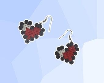 Hama beads heart earrings
