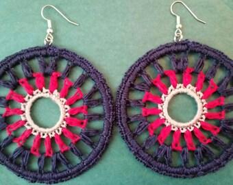 Large Crochet Diana Earrings- Grey, Pink, Navy Blue