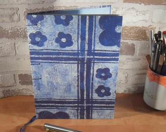 Notebook A5 - blue flowers / / journal / / gift / / sketchbook / / memories / / thoughts