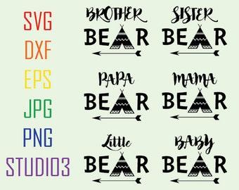 Bear Family,Mama Bear,Baby Bear,Papa Bear,Sister Bear,Brother,Little Bear,Sister Bear,Svg,Dxf,Eps,Studio 3,Cricut Files,Cutting Files