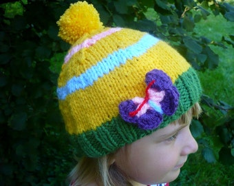 little girls knit hat with butterfly, jellow-green girls knit hat