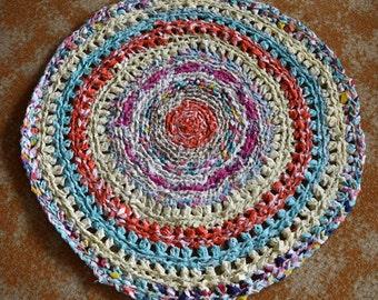 Handmade Crochet Multi-Coloured Recycled Rag Rug.