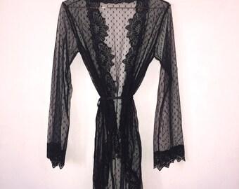 So Meow! Black Polka Dot Sheer Gown