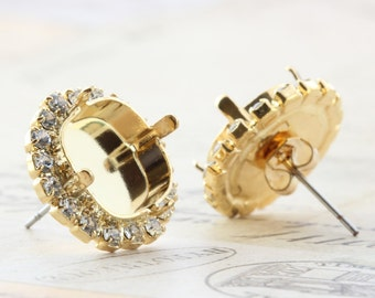 Gold Plated Settings With Crystals 4470 12mm Octagon Post
