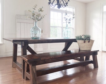 Rustic Farmhouse Table & Bench -- Solid Wood, Handmade