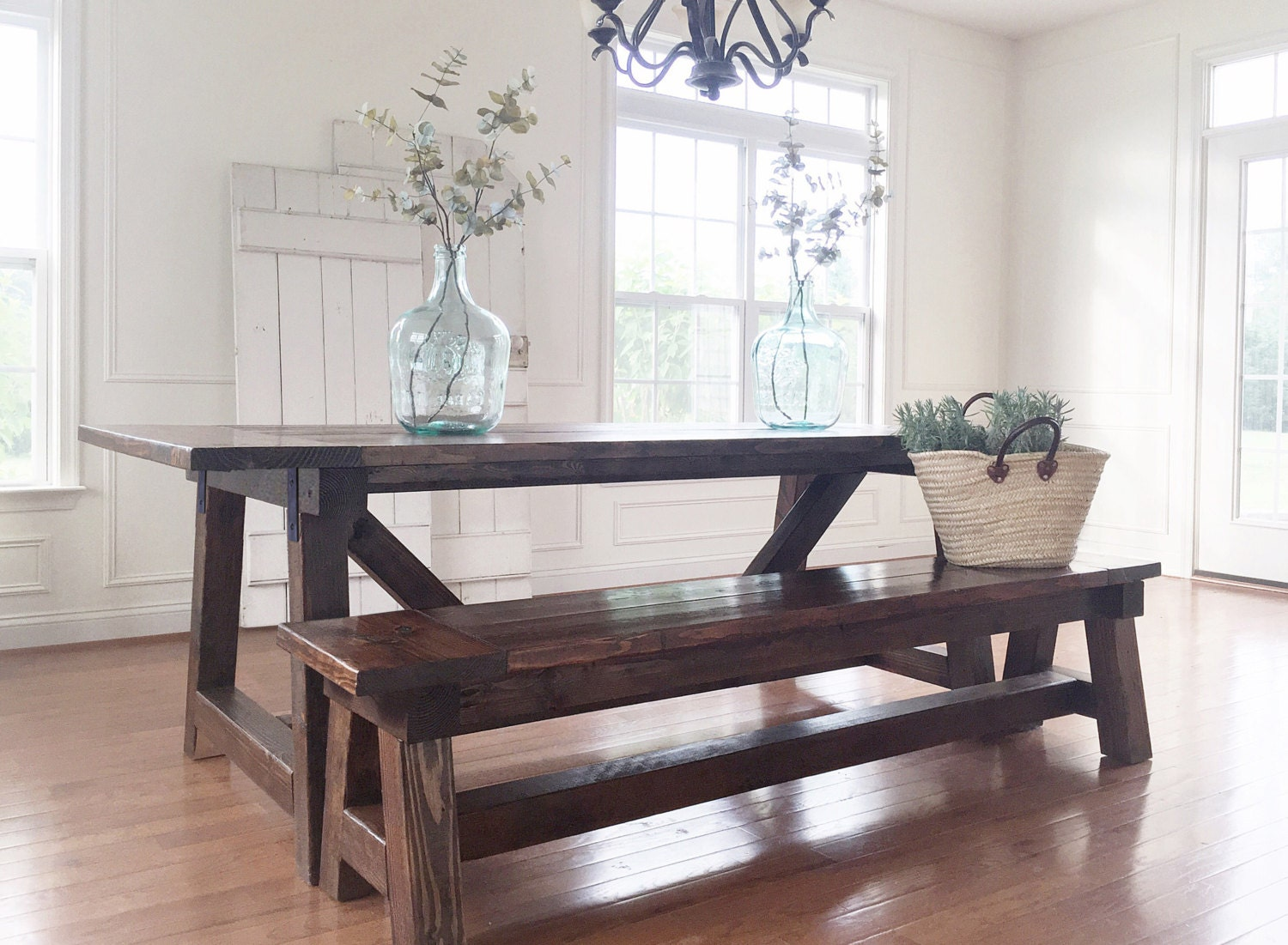 Rustic farmhouse table bench solid wood handmade for Solid wood farmhouse table