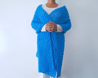 Star of Bethlehem Shawl/ Crocheted Lace Rectangular Shawl in Bright Blue