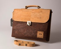 """Laptop Case 13.3"""", FREE SHIPPING, Briefcase Handmade from Genuine Portuguese Cork Fabric , Vegan leather, Cork Products, green ideas, Liege"""